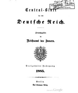 Central-Blatt für das Deutsche Reich – Dreizehnter Jahrgang -1885
