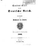 Central-Blatt für das Deutsche Reich – Vierzehnter Jahrgang – 1886