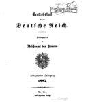 Central-Blatt für das Deutsche Reich – Fünfzehnter Jahrgang -1887