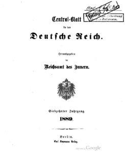 Central-Blatt für das Deutsche Reich – Siebzehnter Jahrgang – 1889