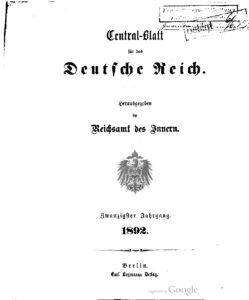 Central-Blatt für das Deutsche Reich – Zwanzigster Jahrgang – 1892
