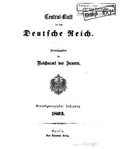 Central-Blatt für das Deutsche Reich – Einundzwanzigster Jahrgang – 1893