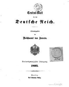 Central-Blatt für das Deutsche Reich – Dreiundzwanzigster Jahrgang – 1895