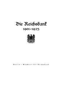 Die Reichsbank 1901-1925