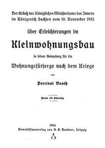 Erlaß über Erleichterungen im Kleinwohnungsbau im Königreich Sachsen