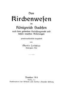 Das Kirchenwesen im Königreich Sachsen
