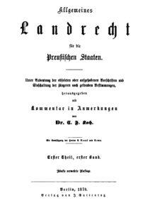 Allgemeines Landrecht für die Preußischen Staaten – Erster Theil, Erster Band