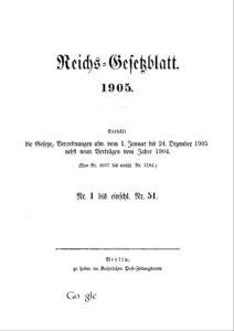 Reichs-Gesetzblatt – Jahrgang 1905