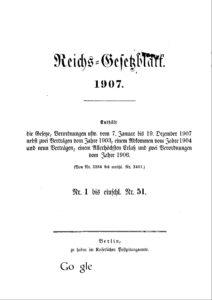 Reichs-Gesetzblatt – Jahrgang 1907