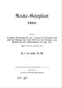 Reichs-Gesetzblatt – Jahrgang 1908