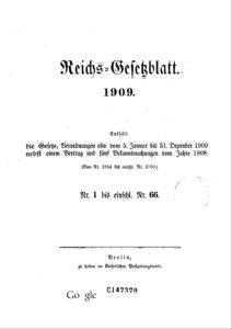 Reichs-Gesetzblatt – Jahrgang 1909