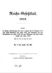 Reichs-Gesetzblatt – Jahrgang 1910