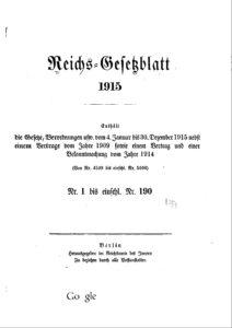Reichs-Gesetzblatt – Jahrgang 1915