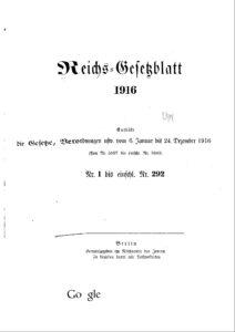 Reichs-Gesetzblatt – Jahrgang 1916