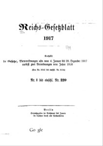 Reichs-Gesetzblatt – Jahrgang 1917