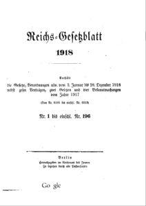 Reichs-Gesetzblatt – Jahrgang 1918