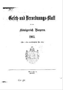 Gesetz- und Verordnungsblatt für das Königreich Bayern – Jahrgang 1905