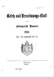 Gesetz- und Verordnungsblatt für das Königreich Bayern – Jahrgang 1906
