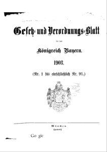 Gesetz- und Verordnungsblatt für das Königreich Bayern – Jahrgang 1908