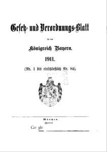 Gesetz- und Verordnungsblatt für das Königreich Bayern – Jahrgang 1911