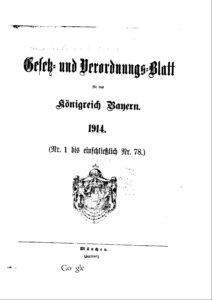 Gesetz- und Verordnungsblatt für das Königreich Bayern – Jahrgang 1914
