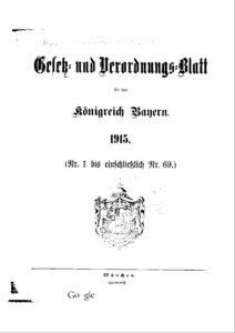 Gesetz- und Verordnungsblatt für das Königreich Bayern – Jahrgang 1915
