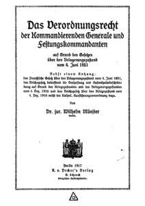 Das Verordnungsrecht der Kommandierenden Generale und Festungskommandanten