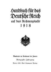 Handbuch für das Deutsche Reich auf das Rechnungsjahr 1918