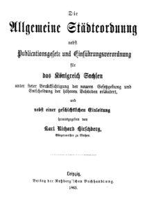 Die Allgemeine Städteordnung für das Königreich Sachsen