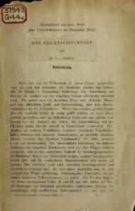 Das Unterrichtswesen im Deutschen Reich – Sonderdruck: Das Volksschulwesen