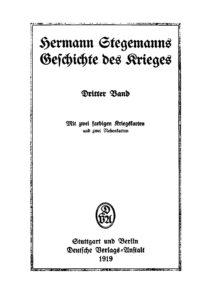 Hermann Stegemanns Geschichte des Krieges – Dritter Band