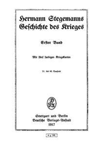 Hermann Stegemanns Geschichte des Krieges – Erster Band