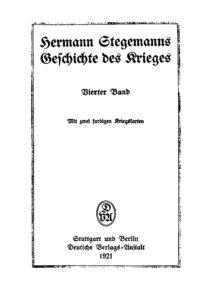 Hermann Stegemanns Geschichte des Krieges – Vierter Band