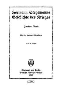 Hermann Stegemanns Geschichte des Krieges – Zweiter Band