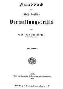 Handbuch des Königlich Sächsischen Verwaltungsrechts