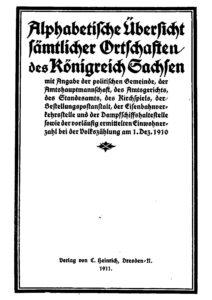 Alphabetische Übersicht sämtlicher Ortschaften des Königreich Sachsen
