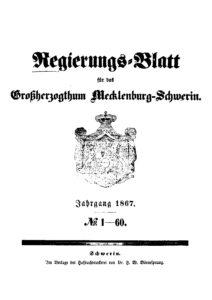 Regierungsblatt für das Großherzogtum Mecklenburg-Schwerin – Jahrgang 1867