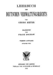 Lehrbuch des deutschen Verwaltungsrechts – Zweiter Teil