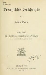 Preußische Geschichte – Erster Band: Die Entstehung Brandenburg-Preußens