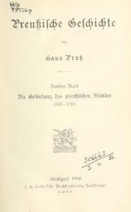 Preußische Geschichte – Zweiter Band: Die Gründung des preußischen Staates