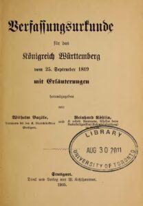 Verfassungsurkunde für das Königreich Württemberg
