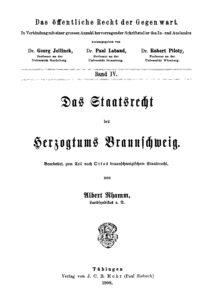 Das Staatsrecht des Herzogtums Braunschweig