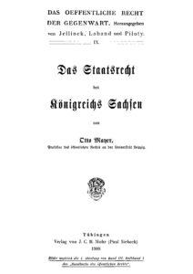 Das Staatsrecht des Königreichs Sachsen