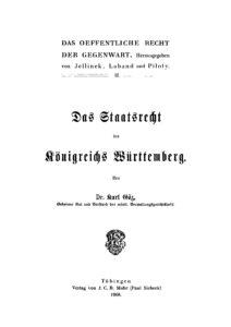 Das Staatsrecht des Königreichs Württemberg
