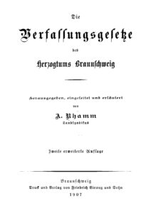 Die Verfassungsgesetze des Herzogtums Braunscheig