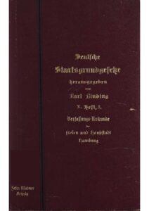 Verfassungs-Urkunde der freien und Hansestadt Hamburg vom 13. Oktober 1879
